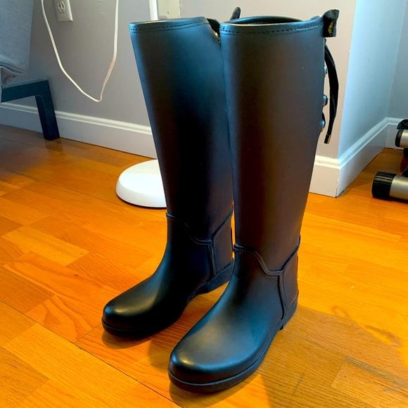 COACH black rain boots 37